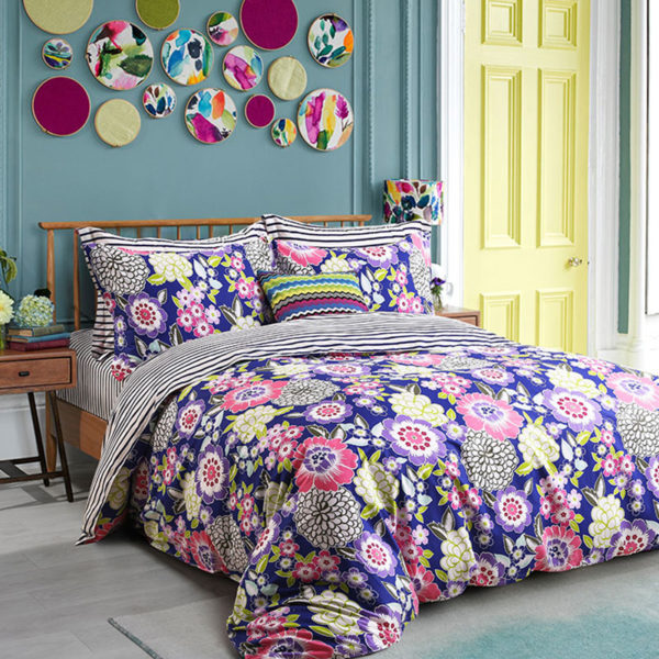 Sophisticated Stripes and Flower Themed Bedding Set