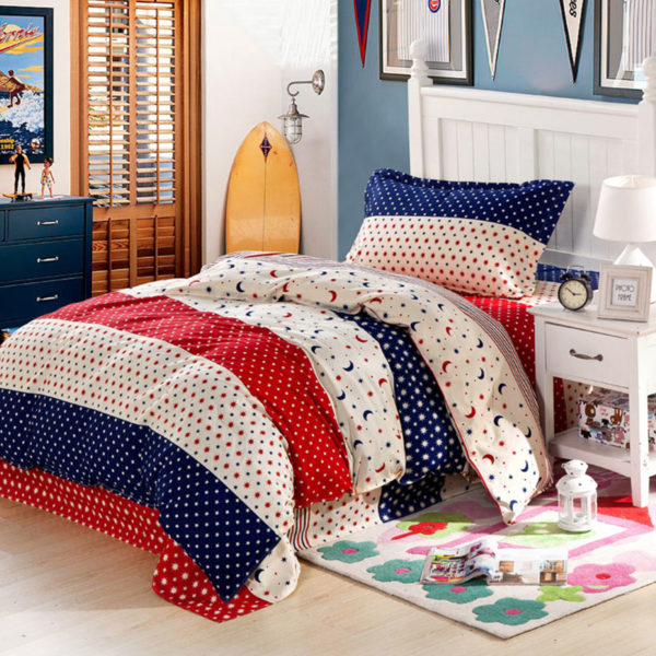 Star and Moon themed Blue and Red Cotton Bedding Set 1