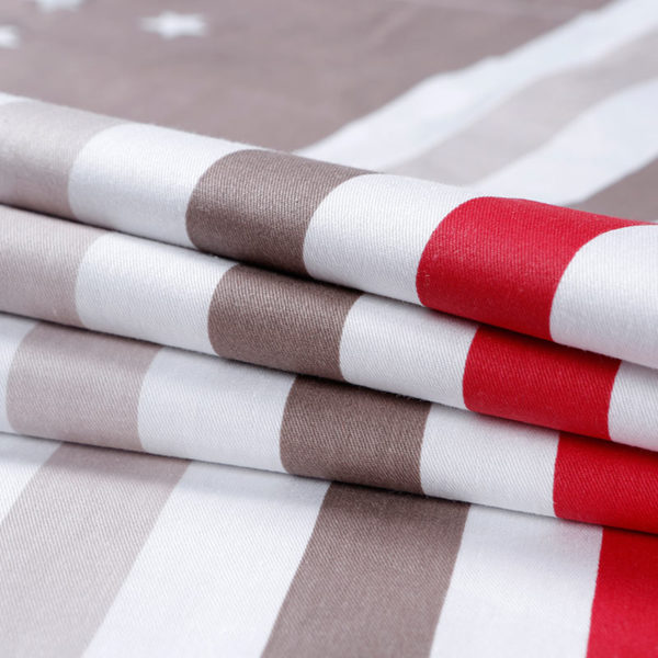 Stripe Themed White Cotton  Bedding Set