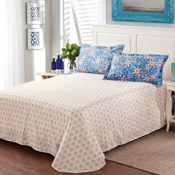 Stunning Blue Cotton Bedding Set 2 600x600 - Stunning Blue Cotton  Bedding Set