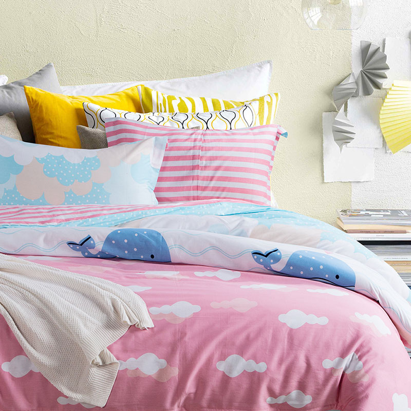 Sweet Blue And Pink Cotton Bedding Set