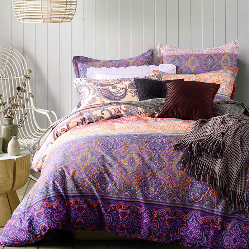 Tasteful Orange And Purple Cotton Bedding Set Ebeddingsets