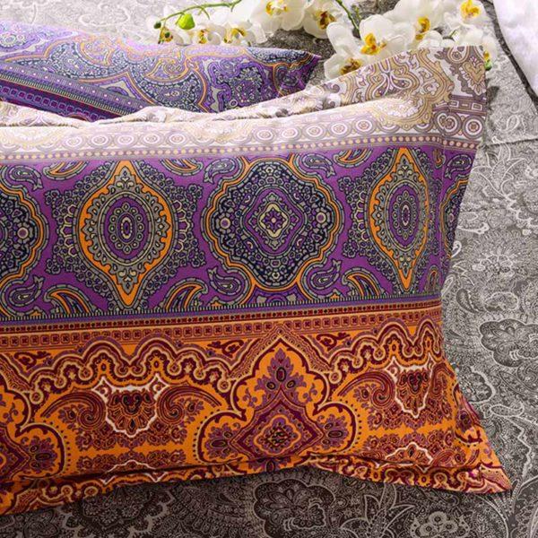 Tasteful Orange And Purple Cotton Bedding set 2