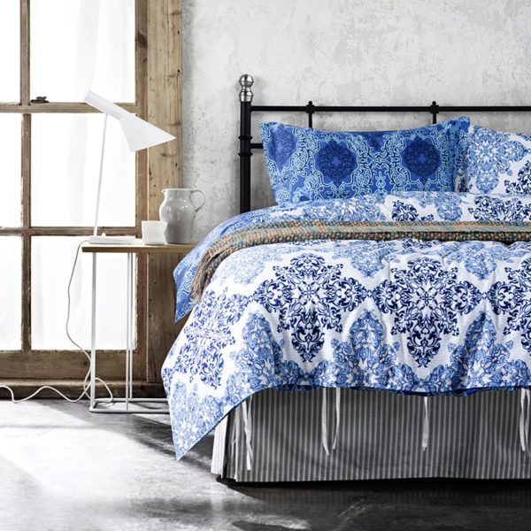 Trendy Blue and White Cotton Bedding Set