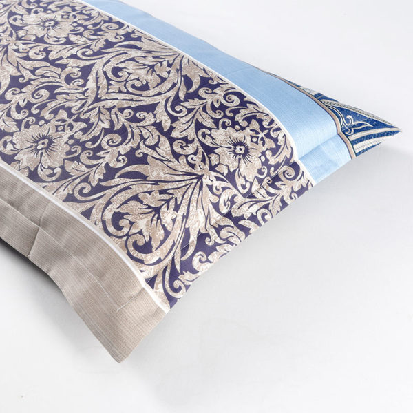Trendy Grey Blue And Purple Blue Cotton Bedding Set 2