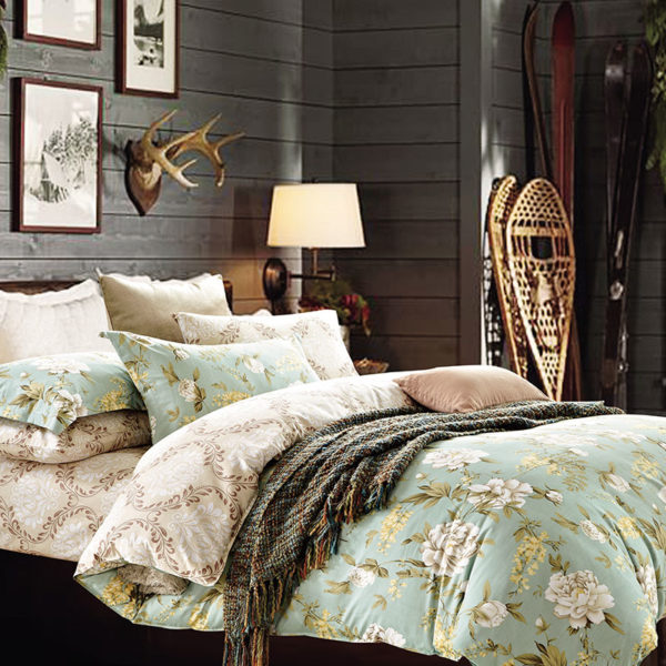 Trendy Pale Turquoise and Brown Cotton Bedding Set 1