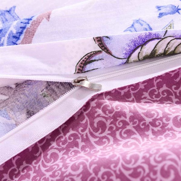 Trendy Pink And White Cotton Bedding Set 4