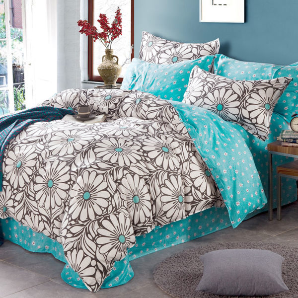 Trendy Turquoise And Black Cotton Bedding Set 1