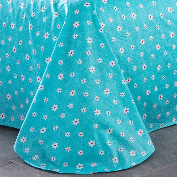 Trendy Turquoise And Black Cotton Bedding Set 2