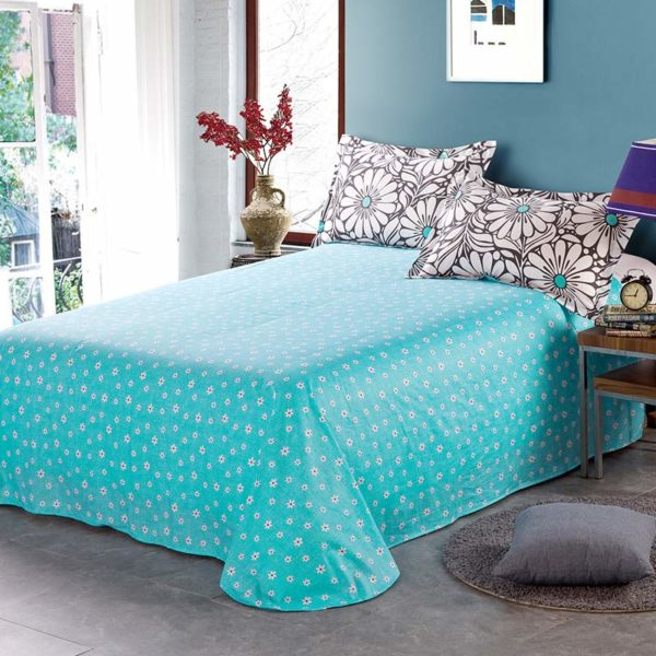 Trendy Turquoise And Black Cotton Bedding Set 4