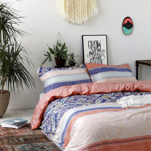 Ultra cool White and Orange Floral Cotton  Bedding Set