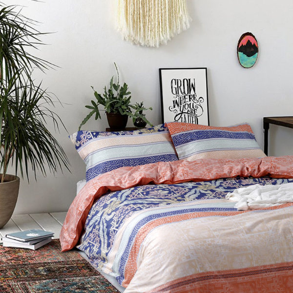 Ultra cool White and Orange Floral Cotton Bedding Set 1