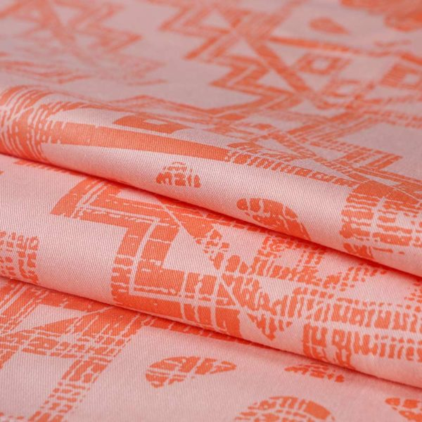 Ultra cool White and Orange Floral Cotton Bedding Set 4