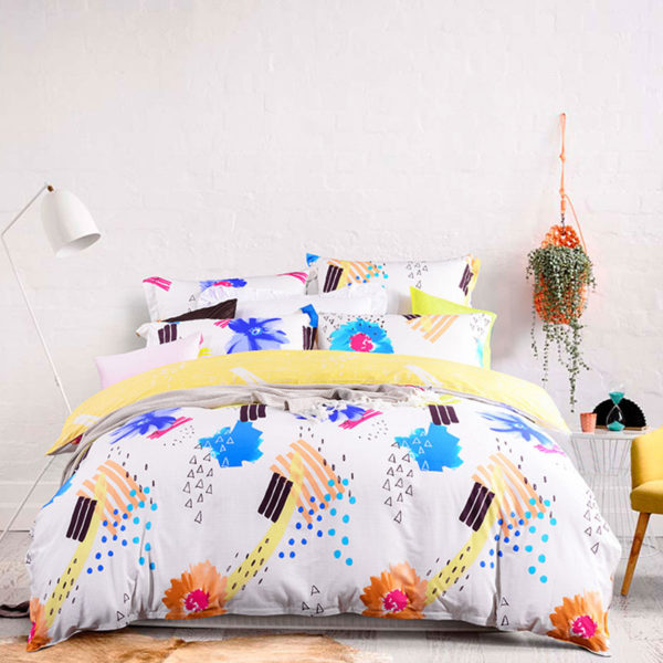 Vibrant Blue And White Cotton  Bedding Set