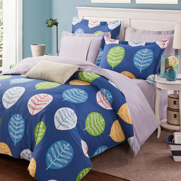 Vibrant Blue Leaf Print Cotton Bedding Set 1 600x600 - Vibrant Blue Leaf Print Cotton  Bedding Set