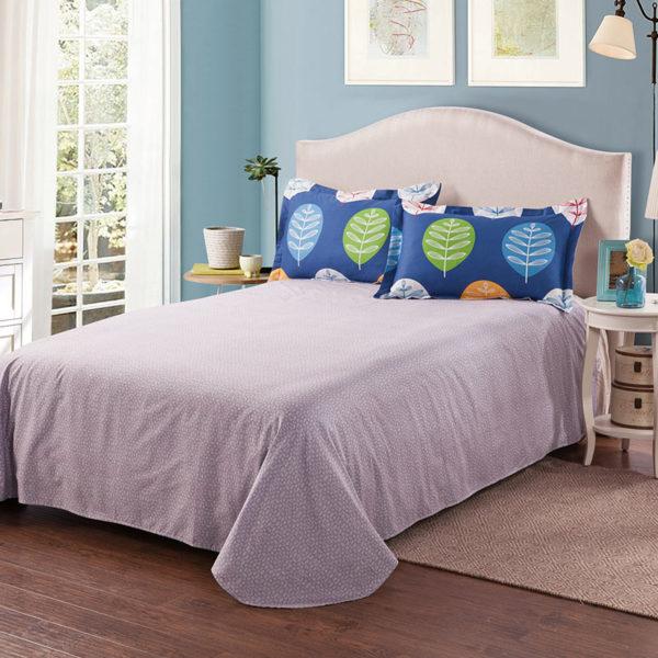 Vibrant Blue Leaf Print Cotton Bedding Set 4 600x600 - Vibrant Blue Leaf Print Cotton  Bedding Set