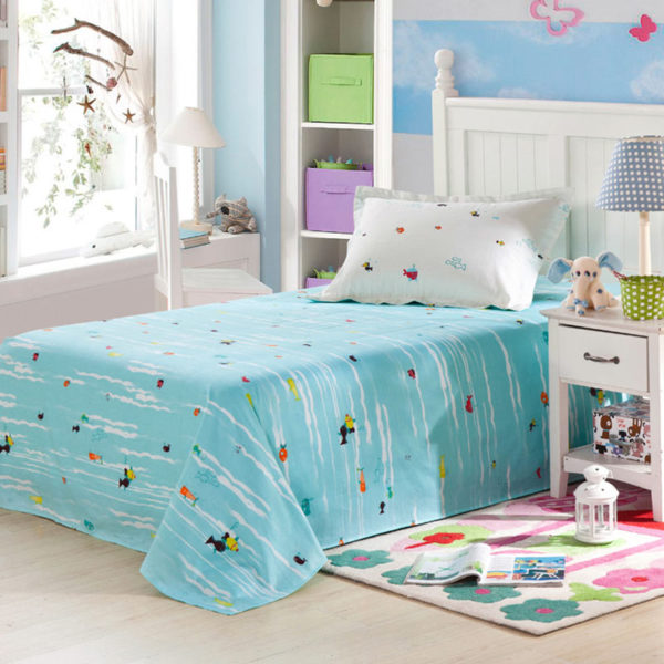 Vibrant Ocean themed Light Blue Cotton Bedding Set 3