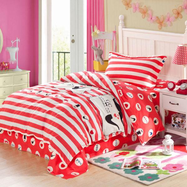 Vibrant Red and Black ILU Cotton Bedding set 1 600x600 - Vibrant Red and Black ILU Cotton Bedding set