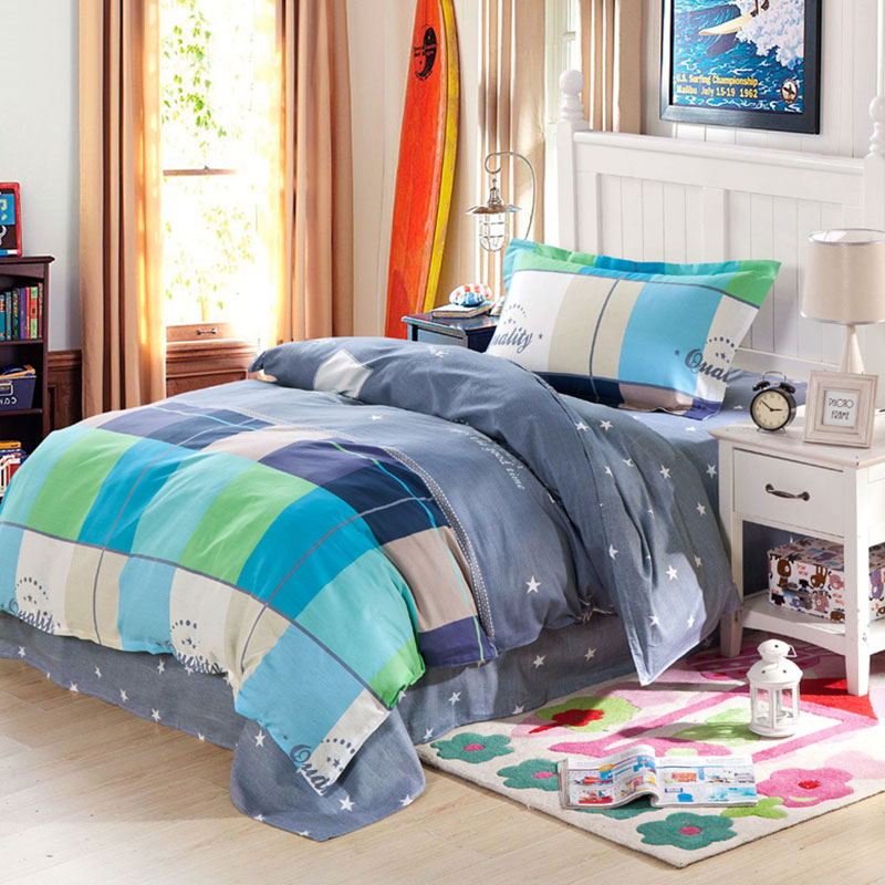 Vibrant And Trendy Light Blue Cotton Bedding Set
