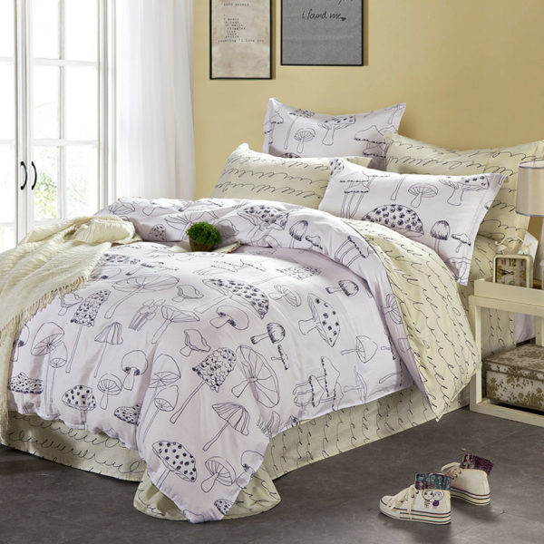 White And Beige Mushroom Themed Cotton Bedding Set 1