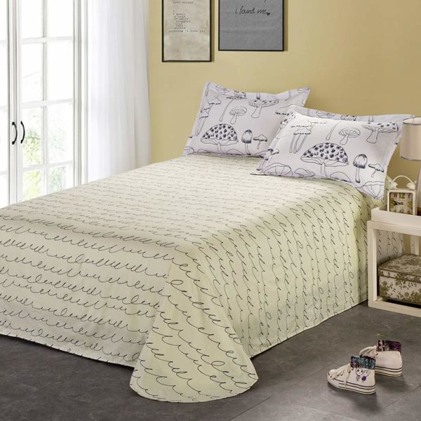 White And Beige Mushroom Themed Cotton Bedding Set 3