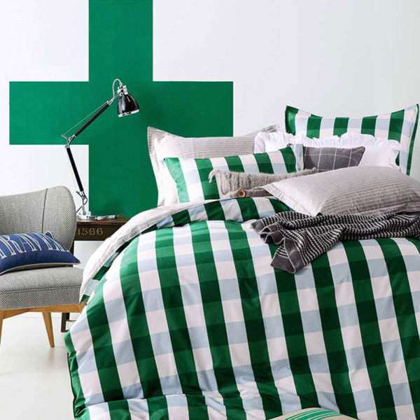classic Green and White Cotton Bedding Set 3