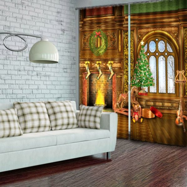 Attractive Christmas Picture Curtain Set