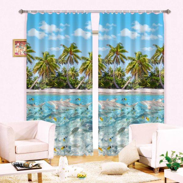 102amazon zpssiacdhmv 600x600 - soothing Palm tree and Fish Ocean Curtain Set
