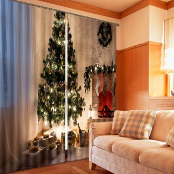 Majestic Green Christmas Curtain Set
