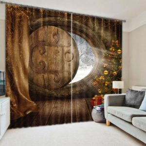 artificial wood home with christmas tree curtain set
