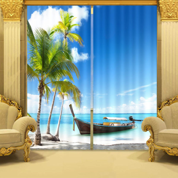 104 zpss1cwylcb 600x600 - Colorful Ocean Themed Curtain Set In Blue