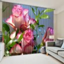 Pink And White Rose Curtain Set