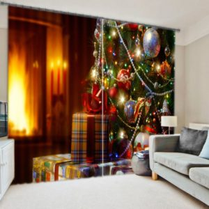 Elegant Christmas Themed Curtain Set