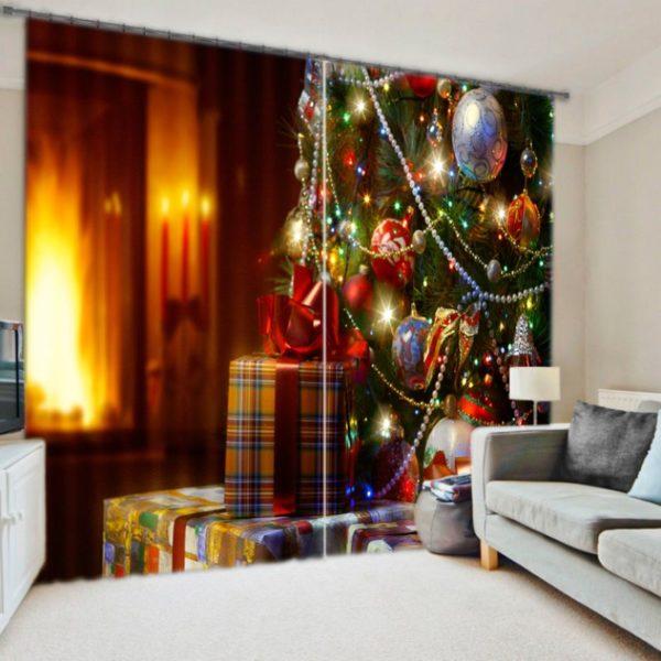 Elegant Christmas Themed Curtain Set