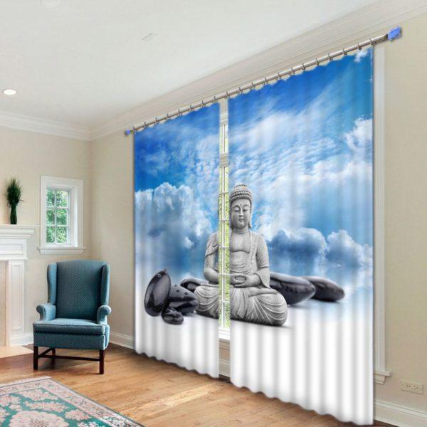Exquisite  Meditating Buddha Picture Curtain Set