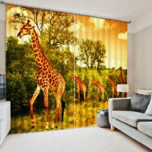 Aristocratic Girrafe Picture Curtain Set