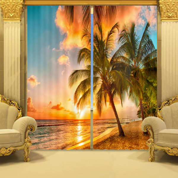 Sunset Picture Curtain Set
