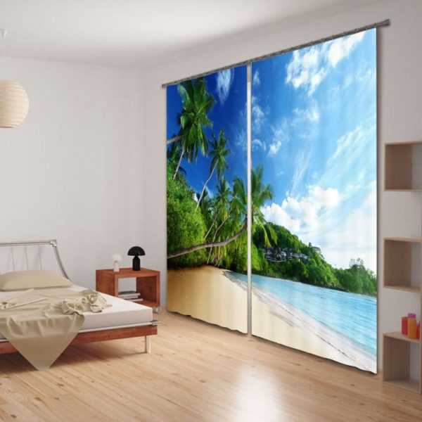 Serene Palm Tree Picture Curtain Set