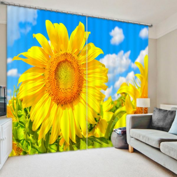 Beautiful Sunflower Picture Curtain Set
