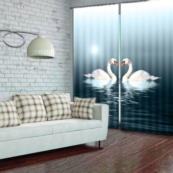 Captivating Swan Curtain Set