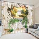 Contemporary 3D Nature Print Curtain Set