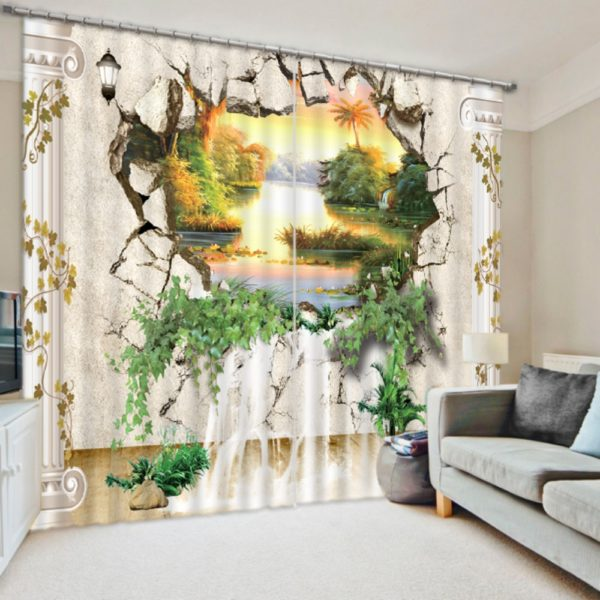 Contemporary 3D Nature Print Curtain Set