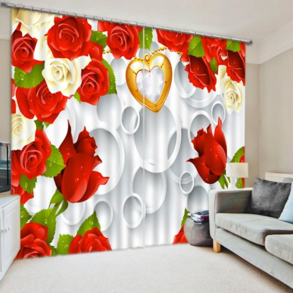 Contemporary Rose And Heart  Curtain Set
