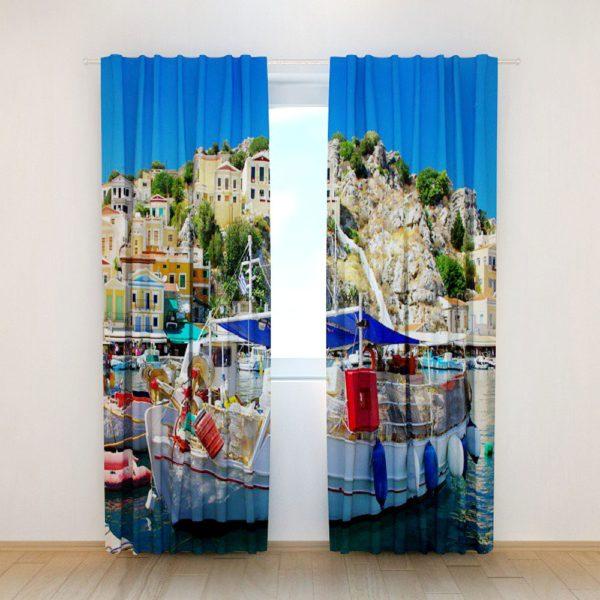110amazon zpslcz30y9g 600x600 - Contemporary Ocean Print Curtain Set