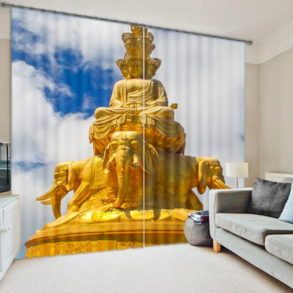 Golden Gautama Buddha Curtain Set