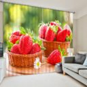 Curtain Set With Strawberry Motif