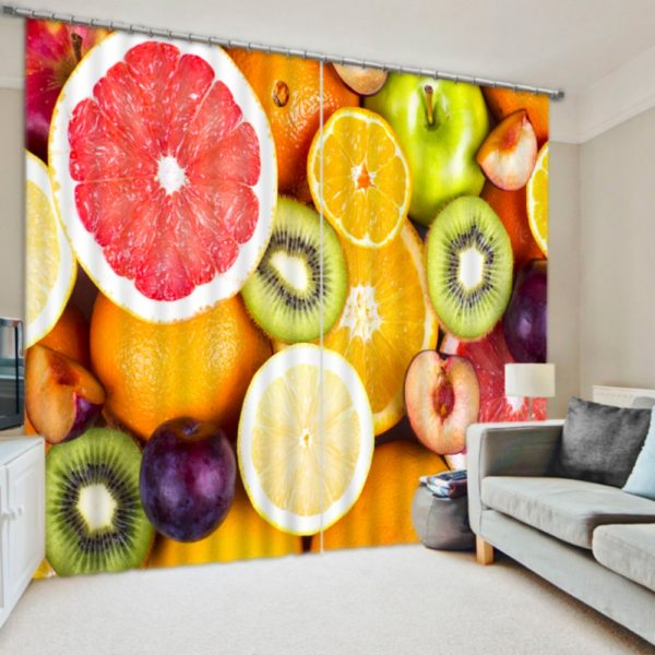 Picture Curtain Set With Fruits Theme