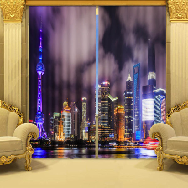 City Curtain Set In Purple