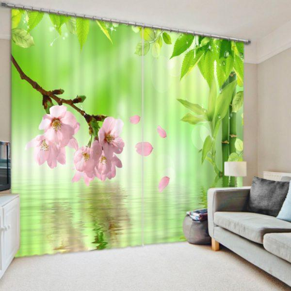 Pink Flower Curtain Set