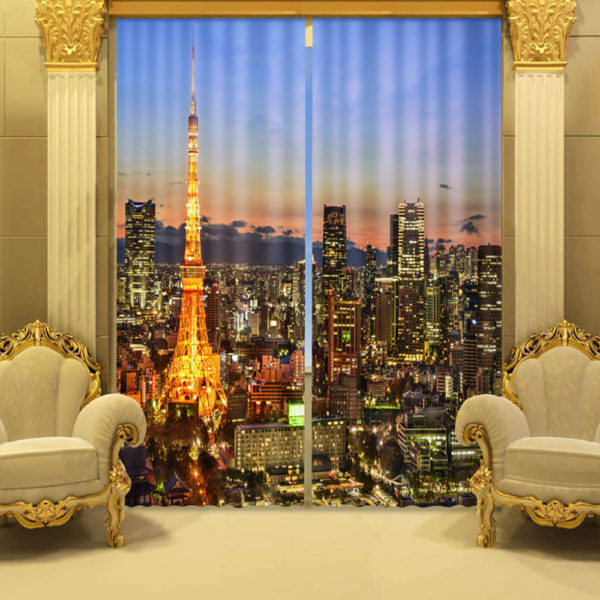 113 zpsikh6xkex 600x600 - Fabulous City And skyscrapers Curtain Set